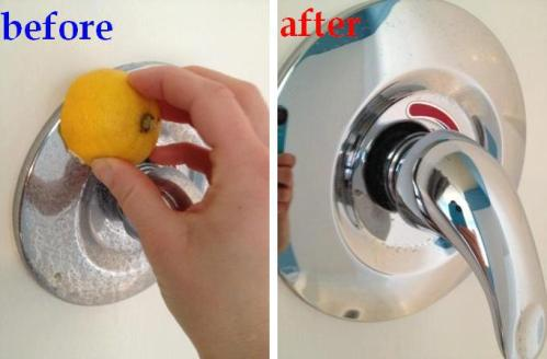 Naturally Clean Hard Water Stains Using A Sliced Lemon