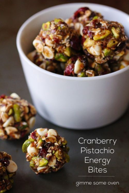 Cranberry Pistachio Energy Bites gimmesomeoven.com:cranberry-pistachio-energy-bites: