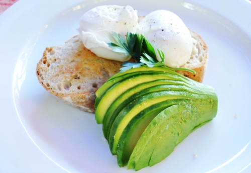 Healthy Breakfast. Avocado and poached eggs