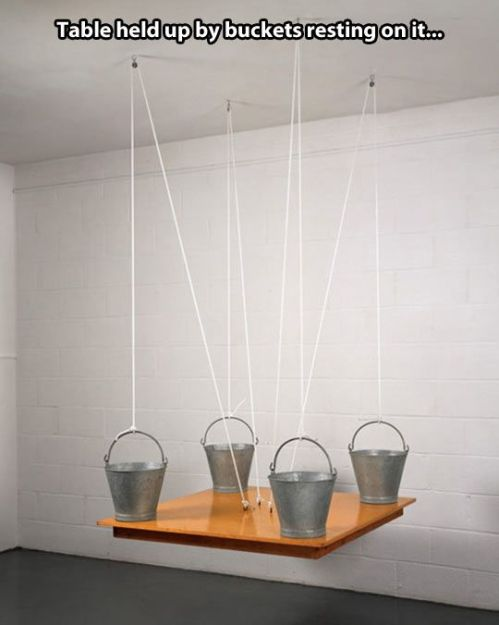 Physics  - Table held up by buckets on it