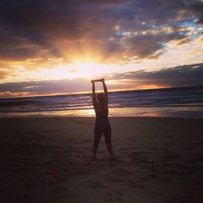 My friend Trish on beach, sunshine coast, Australia