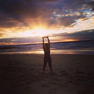 My friend Trish on beach, sunshine coast, Australia
