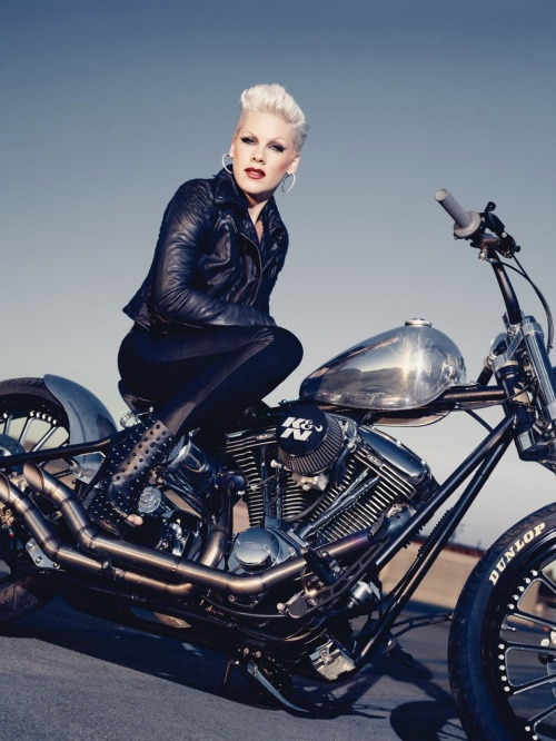 """Alecia Beth Moore (also known as the artist """"Pink"""") sitting atop a Harley Chopper 1,199×1,600 pixels"""