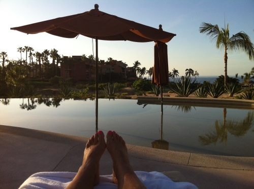 Sunrise by the pool at Cabo