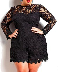 Stylish Round Neck Long Sleeve Solid Color Plus Size Lace Romper For Women