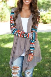 Vintage Patterned Long Sleeve Irregular Cardigan For Women