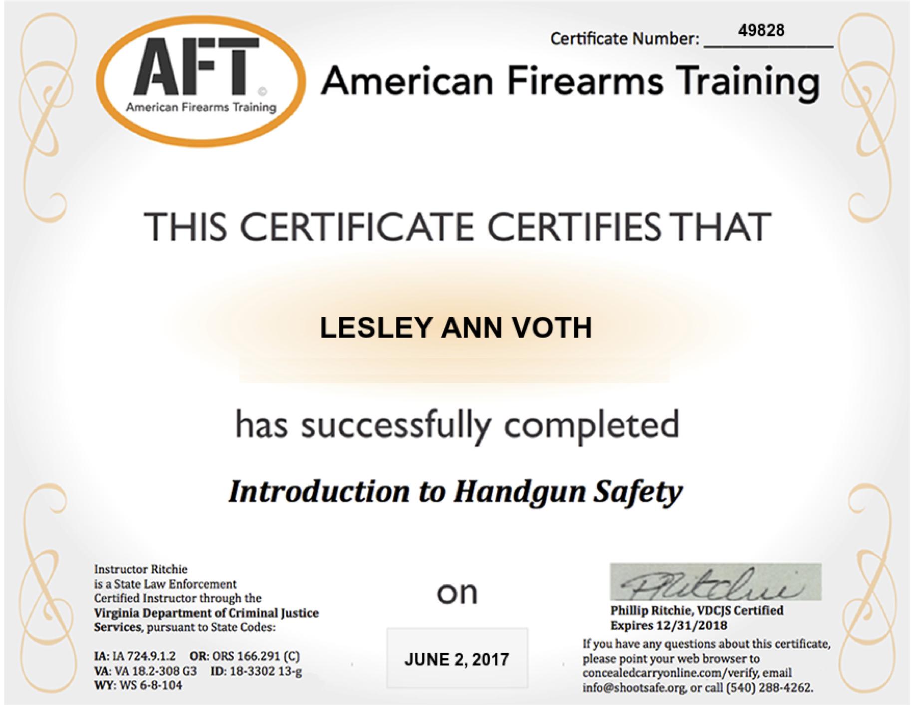 Gun Safety Licence Lesley Voth